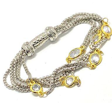 Two- Tone White Topaz Multi Strand Bracelet