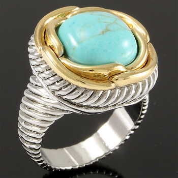 Two Tone with Turquoise Large Ring Size 8
