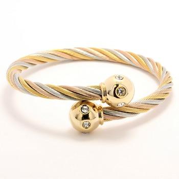 Two-Tone, 0.20ctw Cubic Zirconia Cable Bangle Bracelet