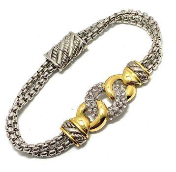 "Two-Tone 0.85ct Cubic Zirconia 7.5"" Long Bracelet"