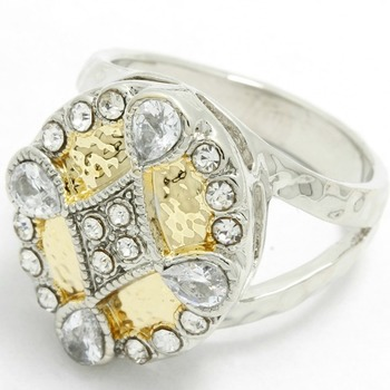 Two-Tone, 0.96ctw White Sapphire Ring Size 8