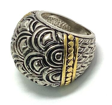 """Two-Tone 1"""" Wide Ring Size 6.5"""