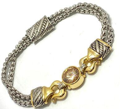 """Two-tone 10mm in Diameter Golden Topaz 8"""" Long Bracelet"""
