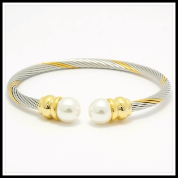 Two-Tone, 10mm Pearls Cable Bangle Bracelet