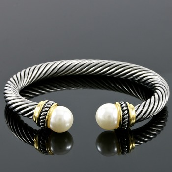 """Two-Tone, 1/2"""" White Pearls Bangle Cable Bracelet"""
