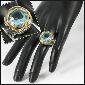 Two-Tone, 2.25ctw Blue Topaz Ring sz 7