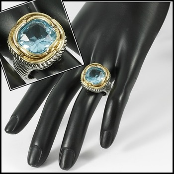 Two-Tone, 2.25ctw Blue Topaz Ring sz 8