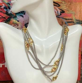 Two-tone 25.70 Citrine 5 Strand Necklace