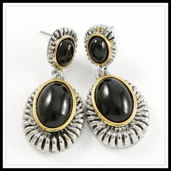 Two-Tone, Black Onyx Earrings