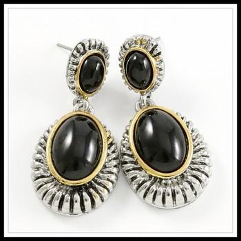Two-Tone, Black Onyx Earrings