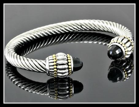 Two-Tone, Black Spinel Bangle Cable Bracelet