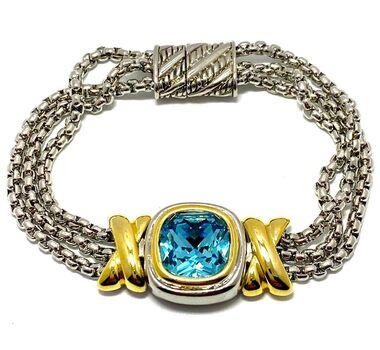 "Two-tone Blue Topaz 7"" Long Bracelet"