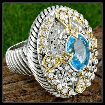 Two-Tone, Blue Topaz & White Zircon Ring sz 7