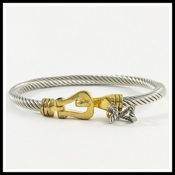 Two-Tone, Cable Bangle Bracelet
