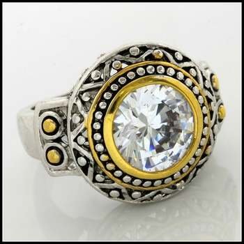 Two-Tone, Cubic Zirconia Ring Size 7