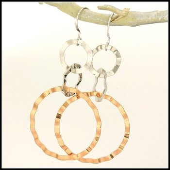 Two-Tone Gold over Sterling Silver Hammered Crimped Circles Dangling Earrings