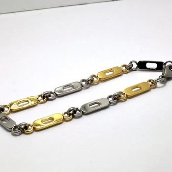 "Two-Tone Men's Bracelet 9"" Long"