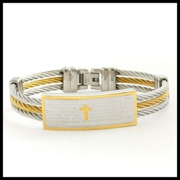 Two-Tone Stainless Steel Cable Bangle Bracelet