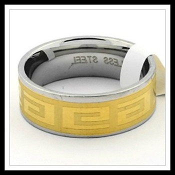 Two-Tone Stainless Steel Greek Ornament Ring Size 9