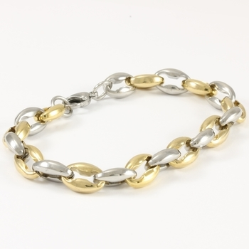 Two-Tone Stainless Steel Men's Bracelet