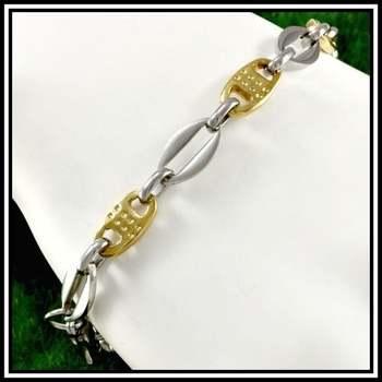 "Two-Tone Stainless Steel Modern Bracelet 8.5"" Long"