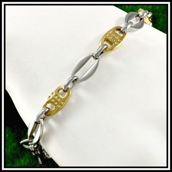 "Two-Tone Stainless Steel Modern Bracelet 8.5"" Long"