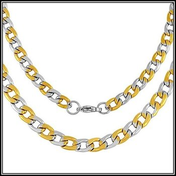 "Two-Tone Stainsess Steel 23"" Long 1/4"" Width  Design Chain Necklace"