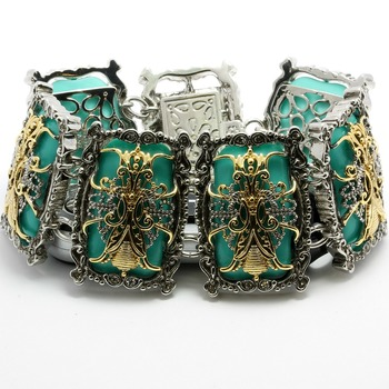"""Two-Tone, Turquoise 1 1/4"""" Wide Magnetic Clasp Bracelet"""