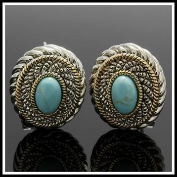 Two-Tone, Turquoise Earrings