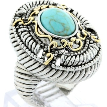Two-Tone, Turquoise Large Ring size 7