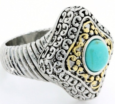 Two-Tone, Turquoise Ring size 8