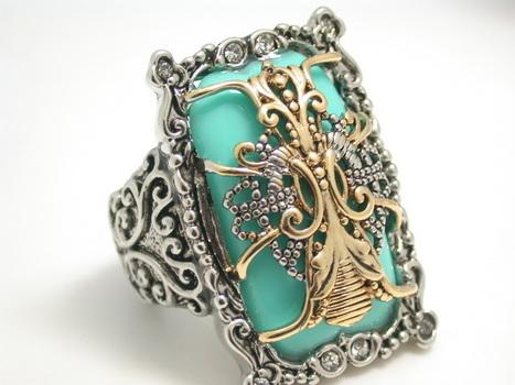 Two-Tone, Turquoise & White Zircon Ring sz 7