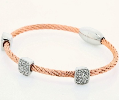 Two-Tone White Cubic Zirconia Magnetic Clasp Cable Bracelet