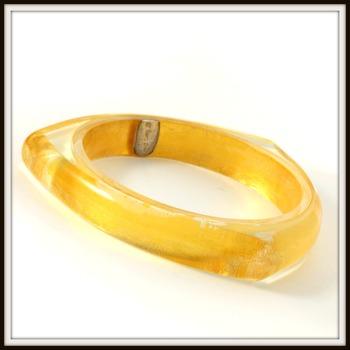 Vintage Charles Winston 24Karat Yellow Gold Foil Set Inside Resin Bangle Bracelet Retail Price $329.00
