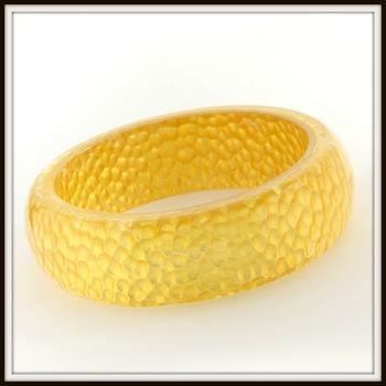 Vintage Charles Winston 24Karat Yellow Gold Foil Set Inside Resin Bangle Bracelet Retail Price $359.00