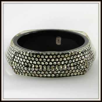 Vintage Charles Winston White Crystal Set Inside Resin Bangle Bracelet Retail Price $329.00