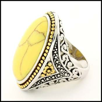 White Agate, Designer Two-Tone Large Ring Size 7