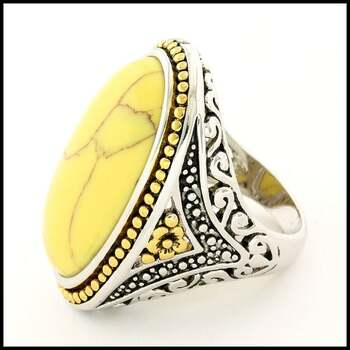 White Agate, Designer Two-Tone Large Ring Size 8
