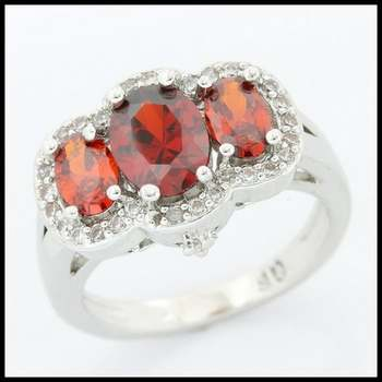 White Gold Filled Beautifully Created Garnet & White Sapphire Ring Size 7