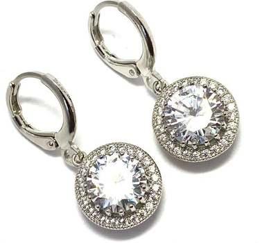 White Gold Overlay, 6.50ctw White Diamonique Earrings