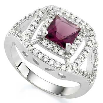 White Gold Overlay Beautifully Created Amethyst  and White Sapphire Ring sz 8