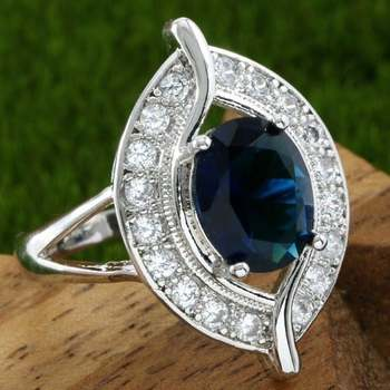 White Gold Overlay Blue & White Sapphire Ring Size 8