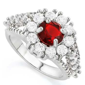 White Gold Overlay Garnet Ring Size 8