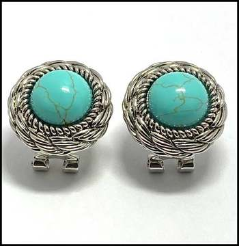 White Gold Overlay, Pressed Turquoise Earrings