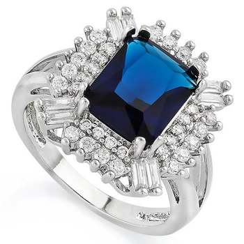 White Gold Overlay Sapphire Ring Size 8