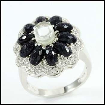 White Gold Overlay, Spinel & Quartz & White Sapphire Ring Size 5.5
