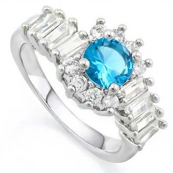 White Gold Overlay Swiss Blue Topaz Ring Size 7