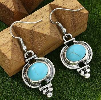 White Gold Overlay Turquoise Earrings