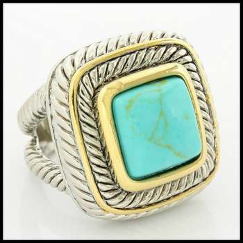 White Gold Overlay Turquoise Ring Size 8