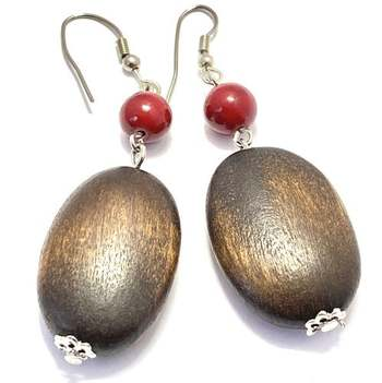 White Gold Overlay, Wood & Red Agate Earrings